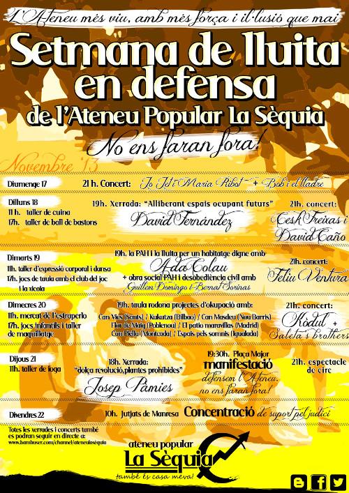 Cartell de la setmana de lluita en defensa de l'Ateneu popular La Sèquia