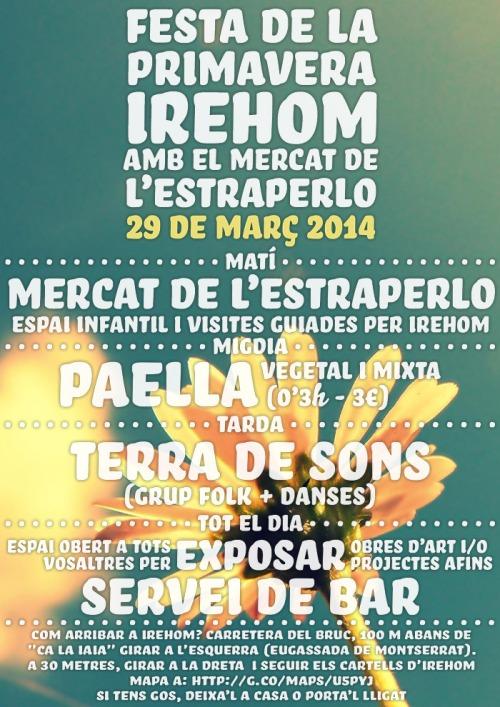 Festa de la Primavera i Mercat de l'Estraperlo el 29 de març a IREHOM