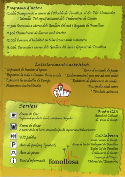Programa de la Fira del Menestral de Camps
