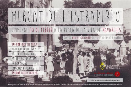 Cartell del Mercat de l'Estraperlo a Navarcles el 10 de febrer de 2019.