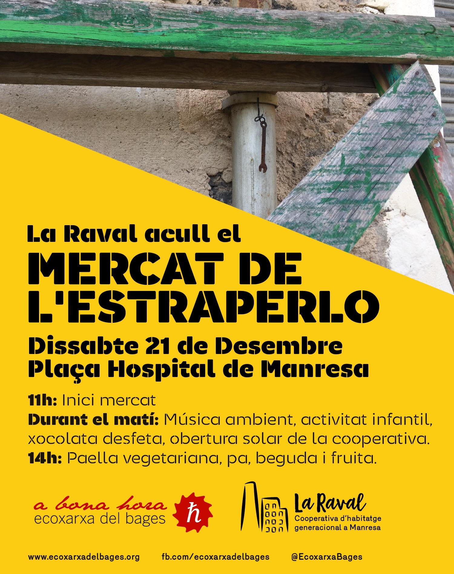 Cartell: Mercat de l'Estraperlo. Dissabte 21 de Desembre a la Plaça de l'Hospital de Manresa.